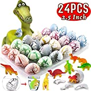 AMENON 24 Pcs Easter Eggs Dinosaur Eggs That Hatch in Water Dinosaur Party Favors with Dino Toys, Surprise Easter Gifts for