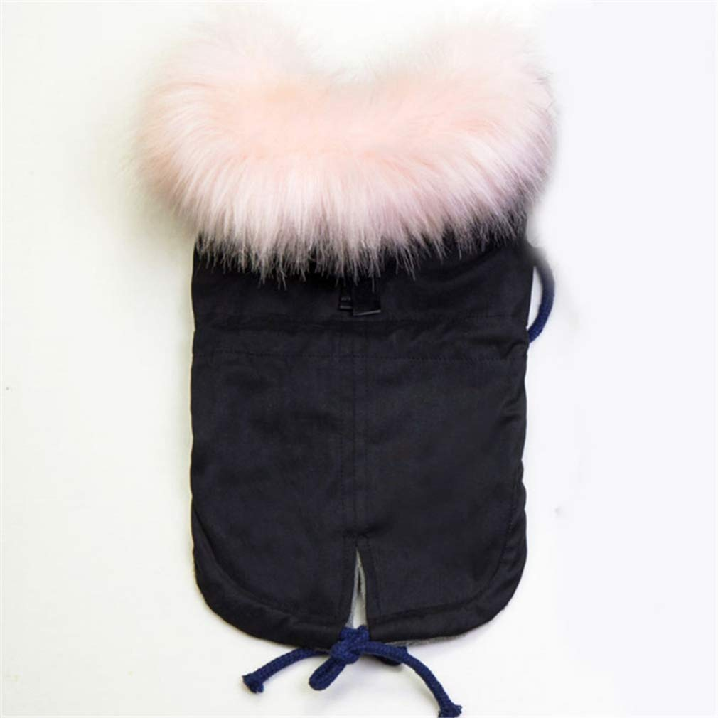 Black M Black M AOBRITON Winter Dog Clothes Luxury Faux Fur Collar Dog Coat for Small Dog Warm Windproof Pet Parka Fleece Lined Puppy Jacket