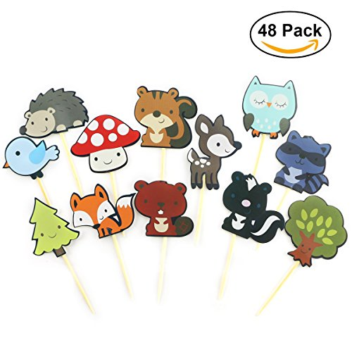 TKOnline 48Pcs Paper Woodland Creatures Theme Cupcake Toppers Forest Animals Cake Toppers Picks Kids Birthday Wedding Party Decoration, Food Fruit Picks for Decoration