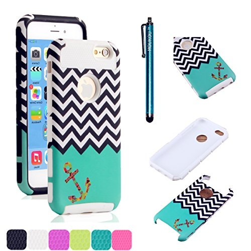 iPhone 5C Case MOUKOU(TM) Unique Hybrid Hard Armor Shell and Silicone Skin Chevron Pattern with Anchor Design Case for iphone5c(S-White)