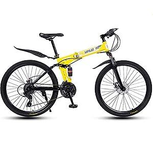51aKC3PnG3L. SS300 JXH Bici di Montagna piegante della Bicicletta per Adulti Uomini e Donne, ad Alta Acciaio al Carbonio della Sospensione…