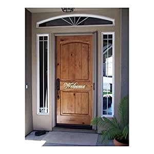 Front Door Welcome 19 Inches White Vinyl Wall Decal Hello Decal