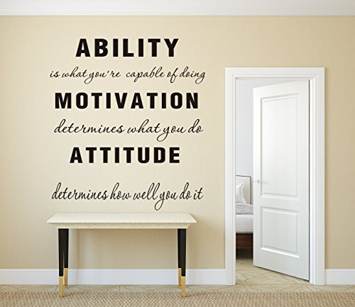 Ability is What You're Capable of Doing Motivation Attitude Family Wall Decal Inspirational Phrase Vinyl Quote Lettering Wall Sticker Decor (Large)