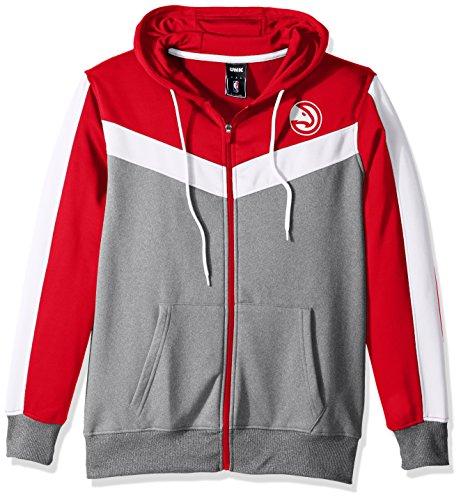 fan products of NBA Men's Atlanta Hawks Full Zip Hoodie Sweatshirt Jacket Contrast Back Cut, XX-Large, Red
