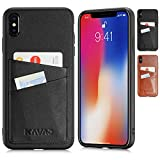 KAVAJ iPhone XS Max Case Leather Tokyo Black Slim-Fit Genuine Leather iPhone Xs Max 6.5'' Wallet Case Leather iPhone Xs Max 6.5'' Bumper Case with Business Card Holder