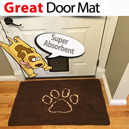 "iPrimio Dog Extra Thick Micro Fiber Pet and Dog Door Mat - Super Absorbent. Includes Water Proof Liner - Extra Floor Protection - Medium Size 32"" X 19"" Exclusive Brown Color"