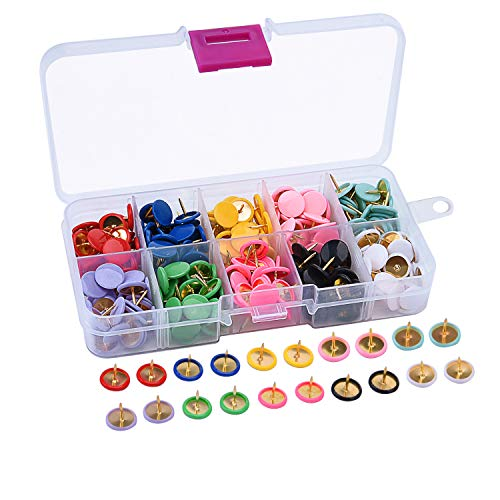 (Sunmns 300 Pieces Thumb Tacks Colored Push Pins, Round Head Thumbtack, Steel Points 3/8 Inch, 10 Colors)
