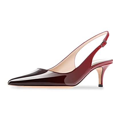 ebf1661653876 Cdvintu Women Slingback Sandals Pointed Toe Mid Heel Pumps Low Heel Patent  Leather Dress Shoes Wedding Party