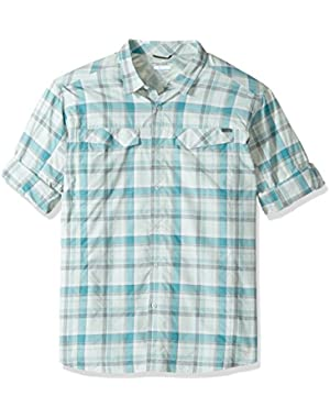 Men's Big-Tall Silver Ridge Plaid Long Sleeve Shirt, Teal Window Pane, 3XT