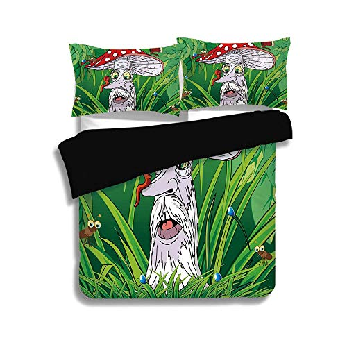 KUDOUXIA Black Duvet Cover Set Queen/Full Size,Mushroom,Old Aged Mushroom Grandpa with Various Jungle Animals Greenery Growth Cartoon Decorative,Multicolor,3 Pcs Bedding Set 2 Pillow Shams (Making A Quilt Out Of Old T Shirts)