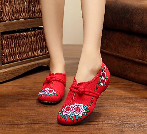 Mn Cómodo Suela Estilo El Rojo Casual Moda En Aumento Étnico Zapatos Mujeres Zapatos Gamuza Bordado De Tendón HwqH1P