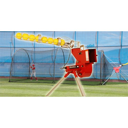 Heater Sports Combo Pitching Machine And Xtender 24' Batting Cage (Cage 24 Home Batting Xtender)