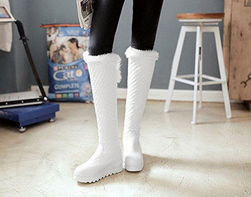 Show Shine Womens Warm Platform Mid Heel Tall Winter Snowboots Wit