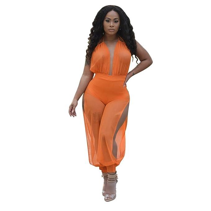 8ac6f71de82 Amazon.com  Star Han Women Deep V-Neck Backless Sexy Mesh See Through  Bandage Side Slit Jumpsuit (Small