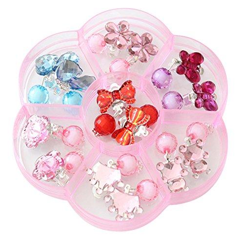 Brisk Cuteprn Toddler Crystal Earring Box Set Girl Earrings Clip-on Princess Jewelry Set Birthday Gift Pretend Play Toy Dress up Set-B