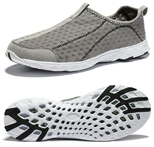 Viihahn Men's Breathable Mesh Waterproof Slip-On Quick Drying Aqua Water Shoes Size 9.5 US Grey