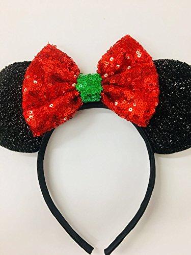 CL GIFT Christmas Mickey Ears, Christmas Minnie Ears, Xmas Mickey Ears, Christmas Disney,Holiday Ears, Mouse (Holiday Mickey Mouse)