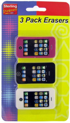 Phone Shaped Erasers - 3 Piece Set 24 pcs sku# 1866038MA by Sterling (Image #1)