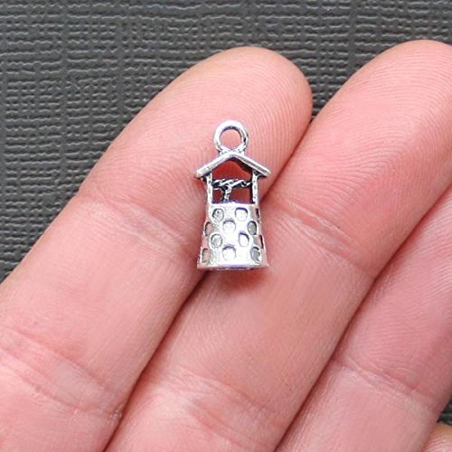 8 Wishing Well Charms Antique Silver Tone 3D Terrific Design - SC868 Jewelry Making Supply Pendant Bracelet DIY Crafting by Wholesale Charms