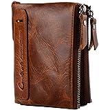 Portafoglio uomo vera pelle di vacchetta con carta di credito titolare Bifold Zip borsa regalo inscatolato (marrone)