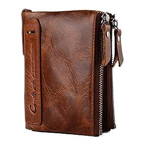 Cuir de vachette véritable Mens Wallet avec carte de crédit porte Bifold Zip sac cadeau emballé (Marron)