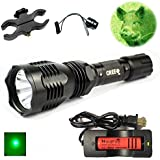WindFire® [A Complete Set] WF-802 Waterproof 350 Lumens 18650 Battery Tactical Flashlight 250 Yard Long Range Throwing Green Hunting Light Green Cree LED Coyote Hog Hunting Light Lamp Torch with Remote Pressure Switch + Scope/Bike Mount Holder + 18650 Rechargeable battery and Charger for Hunting Fishing