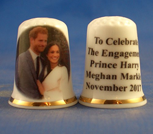 Birchcroft Porcelain China Collectable Thimble - Prince Harry & Meghan Markle Engagement (New) Box Birchcroft China