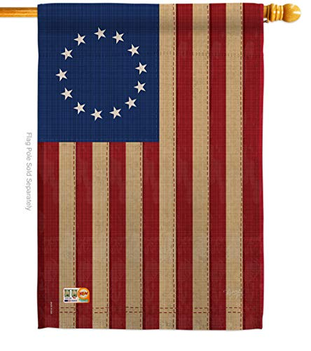 Breeze Decor - Betsy Ross Vintage Americana - Everyday Historic Impressions Decorative Vertical House Flag 28