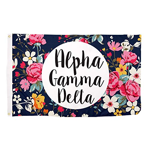 Alpha Gamma Delta Floral Pattern Letter Sorority Flag Banner Greek Letter Sign Decor Alpha Gam