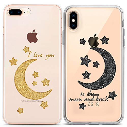 Lex Altern Couple iPhone Case Xs Max X Xr 10 8 Plus 7 6s 6 SE 5s 5 TPU Clear I Love You to The Moon Back Stars Apple Relationship Girlfriend Phone Cover Anniversary Print Best Friends