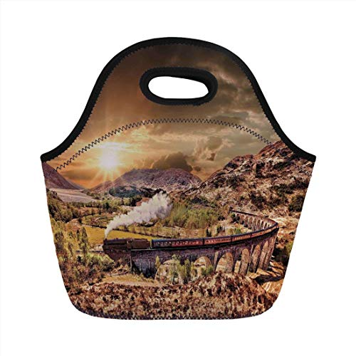 (Portable Lunch Bag,Wizard,Wizard School Express Famous Train Landscape Glenfinnan Railway Viaduct Scotland Sunset,Brown,for Kids Adult Thermal Insulated Tote Bags)