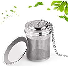 House Again Tea Infuser, Extra Fine Mesh Tea Ball Threaded Connection 18/8 Stainless Steel with Extended Chain Hook for Hanging on Teapots Mugs Cups to Brew Loose Leaf Tea