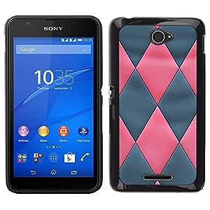 iBinBang / Funda Carcasa Cover Skin Case - Modelo de cuero gris del rosa 3D - Sony Xperia E4