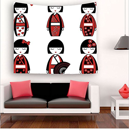 Dali Clock Costume (Nalahome-nique Japanese Geisha Dolls in Folkloric Costumes Outfits and Hair Sticks Kimono Art Image Black Red tapestry psychedelic wall art tapestry hanging 35.4W x 35.4L Inches 43.3W x 43.3L Inches)