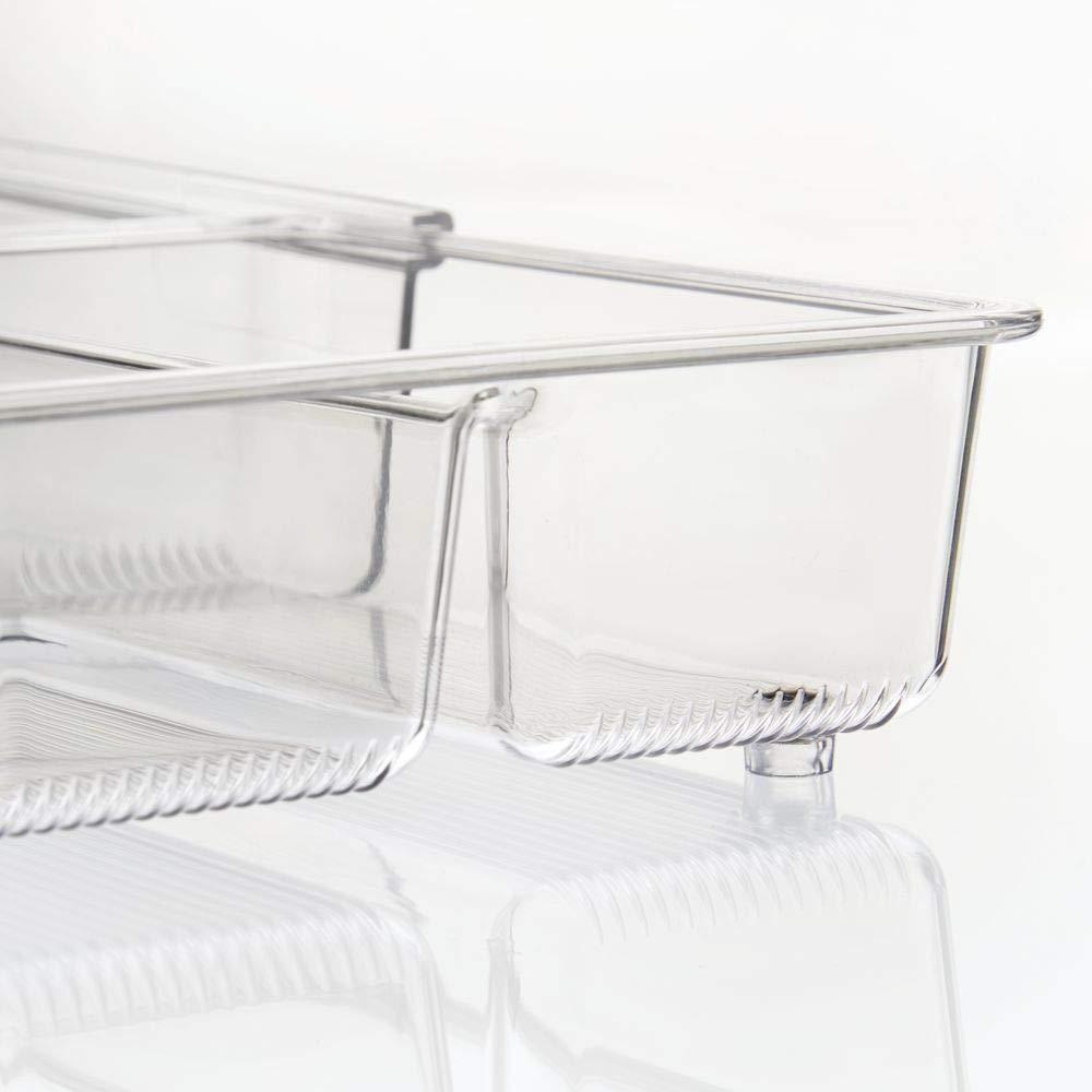 Transparente mDesign Juego de 2 cuberteros Antideslizantes con 4 divisiones en Total Bandeja para Cubiertos y para organizar cajones de Cocina Organizador de Cubiertos y Utensilios Extensible