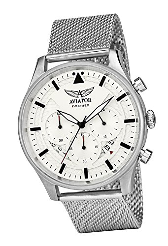 AVIATOR Chronograph Watch for Mens - Aviators Waterproof Vintage Watches - Steel Mesh Milanese Bracelet