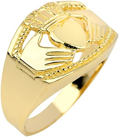 Bold 14k Yellow Gold Mens Trinity Knot Band Irish Claddagh Ring