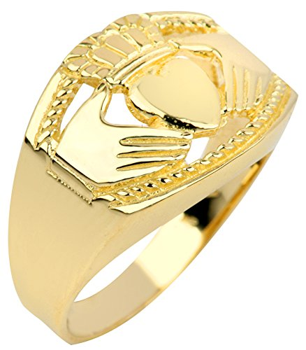 Bold 10k Yellow Gold High Polish Band Irish Claddagh Ring for Men (Size 10)