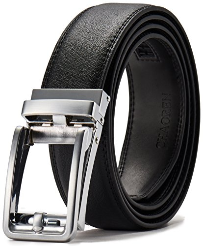 Ratchet Click Belt Custom Fit with Automatic Sliding Buckle in a Gift Box-Men's Comfort Genuine Leather Dress Belt (28