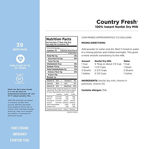 Augason Farms, Country Fresh 100% Real Instant Nonfat Dry Milk, 1lb 13oz (Pack of 6) by  (Image #2)