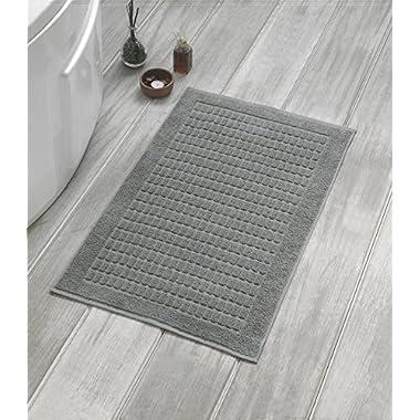 Berrnour Home Solomon Collection 2-Piece Set of Grey Squares Design 20  X 31  100% Turkish Cotton Luxury Bath Mat