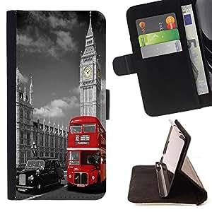 King Art - Premium-PU-Leder-Prima caja de la PU billetera de cuero con ranuras para tarjetas, efectivo Compartimiento desmontable y correa para la mu?eca FOR Apple Iphone 5C- London City Love it United Kingdom