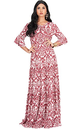 KOH KOH Plus Size Womens Long Half Sleeve Peasant Print Flowy Boho Casual Cute Maternity Empire Waist Renaissance Boho Gown Gowns Maxi Dress Dresses for Women, Crimson Red 2X 18-20 -