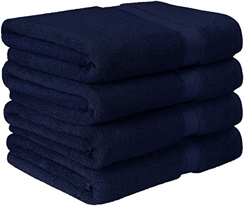 Utopia Towels Premium Bath Towel Set (Pack of 4, 27 x 54) 100% Ring-Spun Cotton Towels for Hotel and Spa, Maximum Softness and Highly Absorbent by (Navy Blue)
