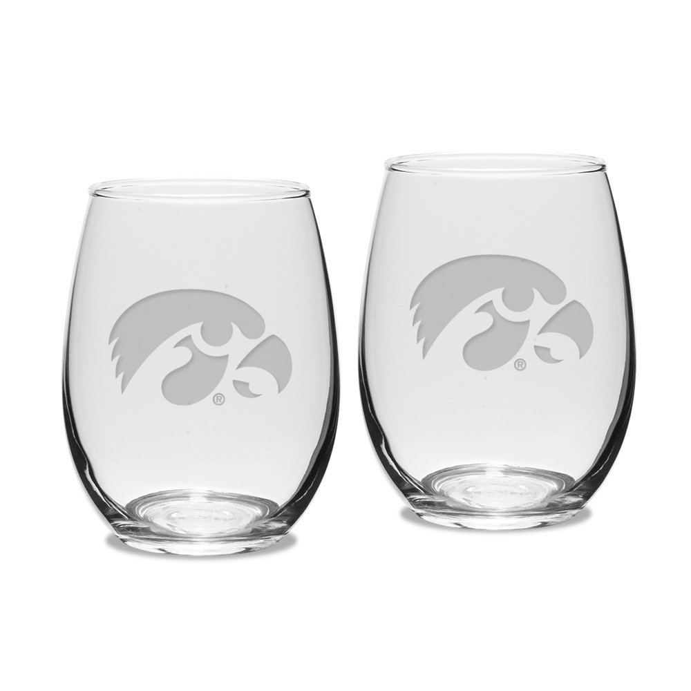 NCAA Iowa Hawkeyes Adult Set of 2-15 oz Stemless Wine Glass Deep Etched Engraved, One Size, Clear