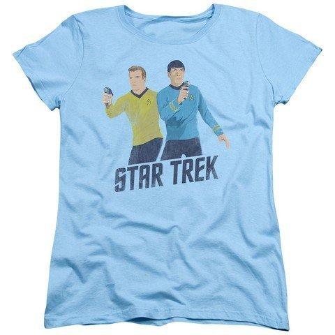 Trevco Star Trek-Phasers Ready - Short Sleeve Womens Tee - Light Blue44; Medium