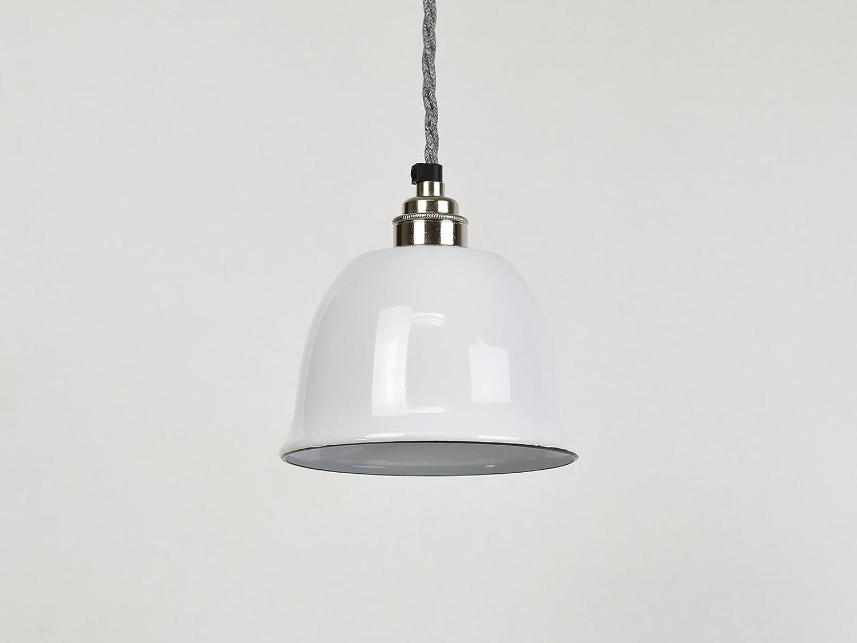 Campana pequeña de color blanco con forma de taza esmaltada industrial vintage de fábrica estilo almacén lámpara de pantalla: Amazon.es: Iluminación