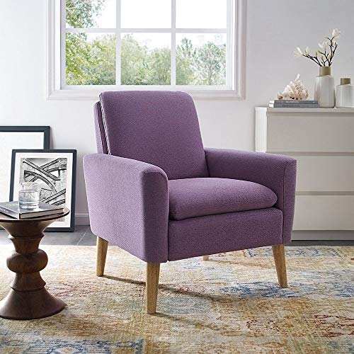 Lovelabel Modern Elegant Mid Century Modern Tufted Sofa Velvet Armchair Living Room Chair (Purple)