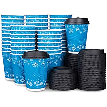 Amazon.com: Disposable Coffee Cups With Lids (50 Pack), 12 ...
