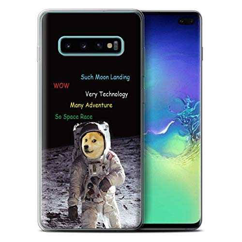 eSwish Gel TPU Phone Case/Cover for Samsung Galaxy S10 Plus/Moon Landing  Design/Funny Shibe Doge Meme Collection